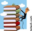 Shows a man climbing a high stack of books
